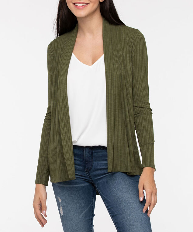 Long Sleeve Ribbed Open Cardigan, Autumn Olive, hi-res