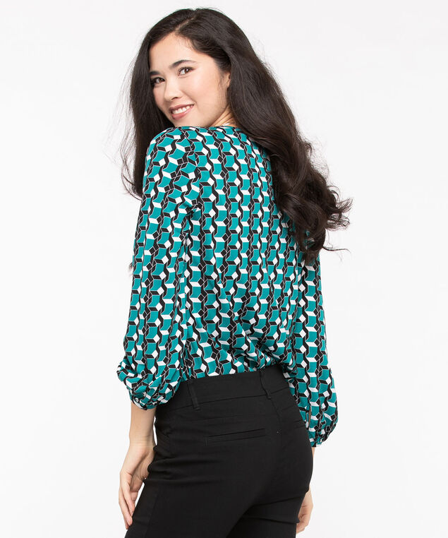 Long Sleeve Peasant Top, Jade/Pearl/Black, hi-res