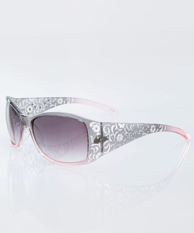 Lace Patterned Sunglasses, Grey/Pink, hi-res