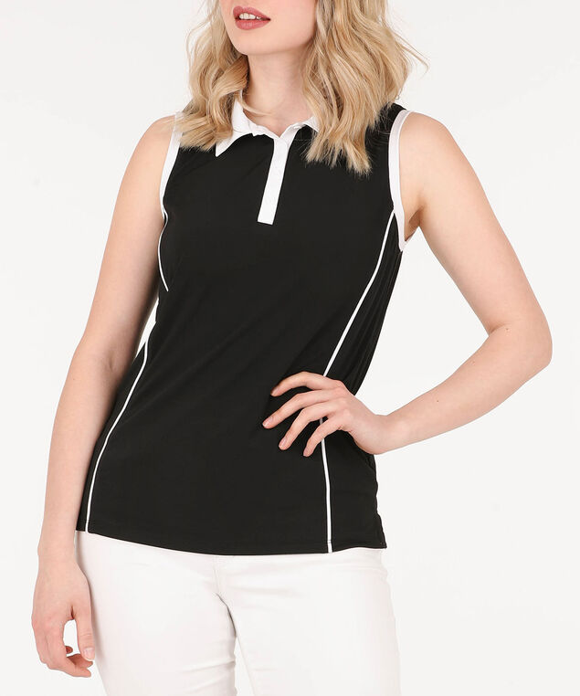 Sleeveless Collared Golf Shirt, Black/White, hi-res
