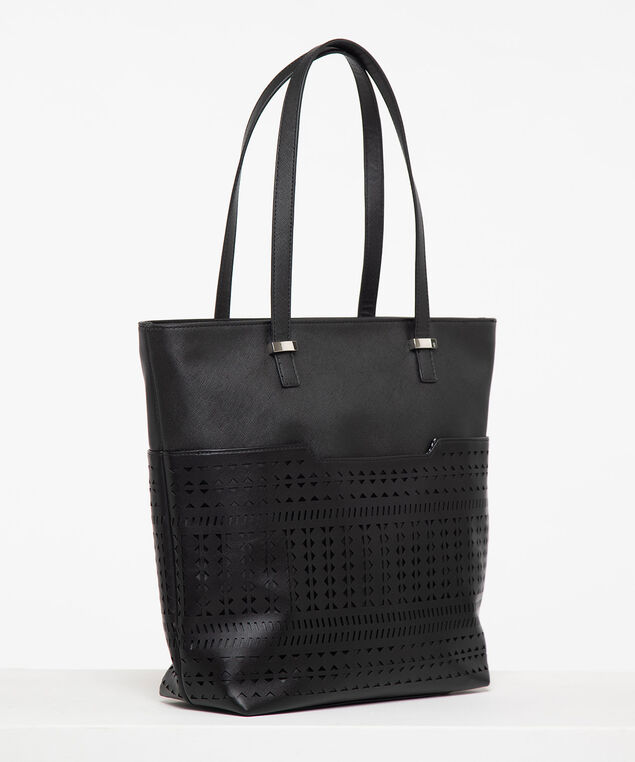 Cutout Detail Tote Bag, Black, hi-res