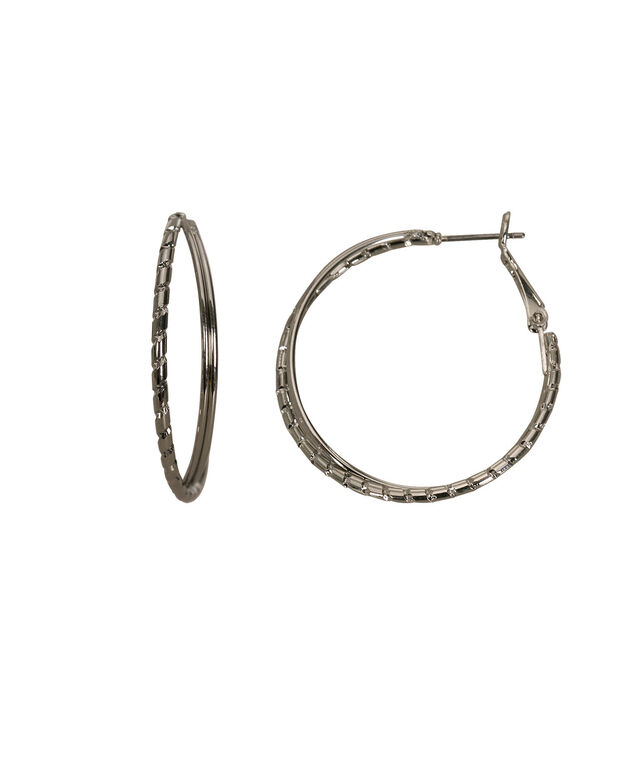Intertwined Hoop Earring, Rhodium, hi-res