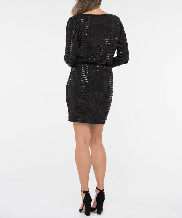 Long Sleeve Blouson Sequin Dress, Black, hi-res