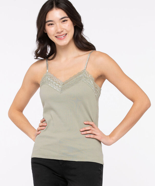 Lace V-Neck Ribbed Cami, Shadow, hi-res
