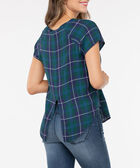 Short Sleeve Scoop Neck Plaid Blouse, Ivy/Pearl/Deep Sapphire, hi-res