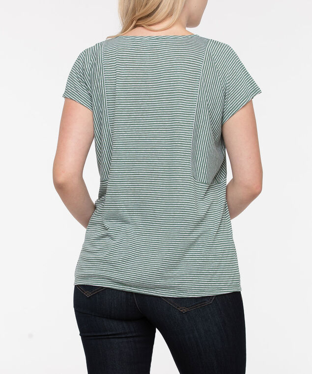 Striped V-Neck Short Sleeve Top, Light Sage/Pearl, hi-res