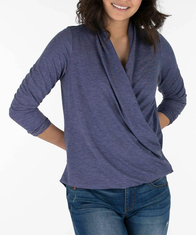 Long Sleeve Wrap Front Top, Indigo, hi-res