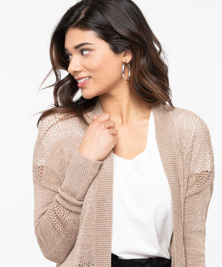 Pointelle Detail Open Cardigan, Sand, hi-res