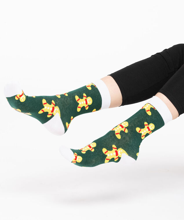 Festive Gingerbread Man Socks, Green/Yellow/Red, hi-res