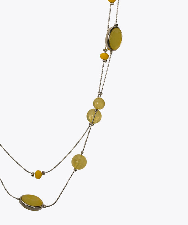 Double-Row Stationed Bead Necklace, Yellow/Rhodium, hi-res