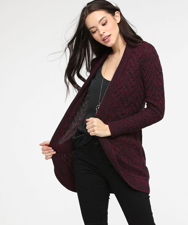 Mixed Stitch Pointelle Open Cardigan, Fig/Black, hi-res
