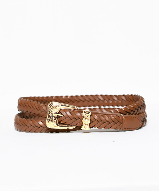 Braided Western Buckle Belt, Brown, hi-res