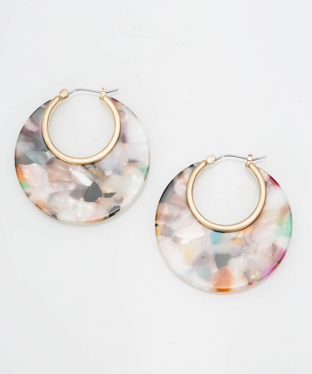 Resin Hoop Earring, Gold/Pearl/Ink Blue, hi-res