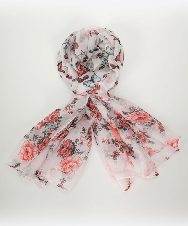 Butterfly Floral Oblong Scarf, Pearl/Aqua/Coral, hi-res