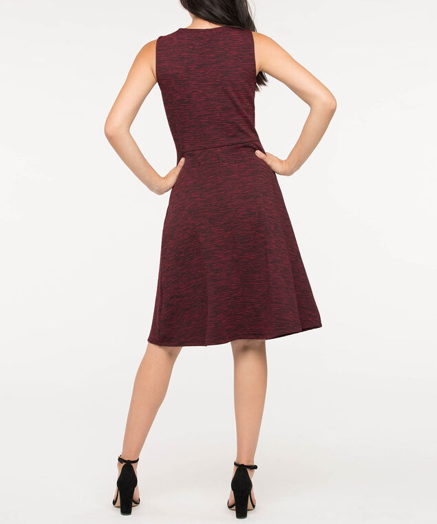 Sleeveless Cut-Out Scoop Neck Dress, Burgundy/Black Mix, hi-res