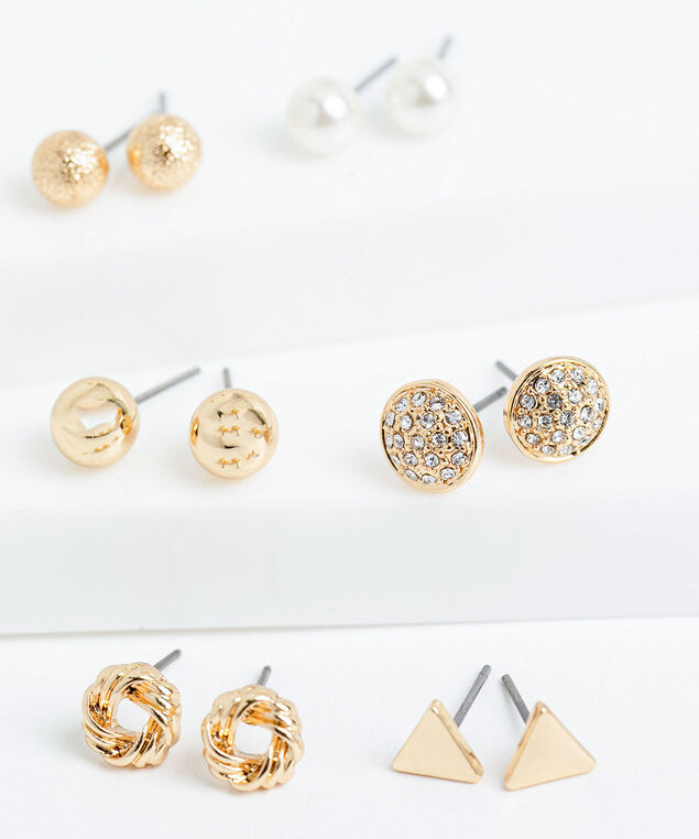 Small Gold Stud Earring 6-Pack, Gold