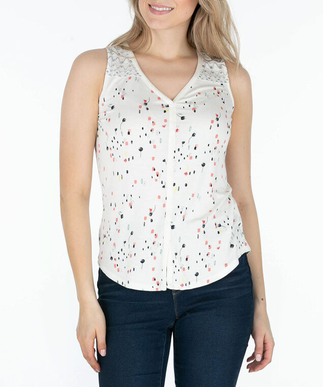 Sleeveless Embroidered Yoke Top, Milkshake/Coral, hi-res