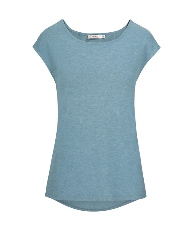 Scoop Neck Extended Sleeve Tee, Lake Blue, hi-res