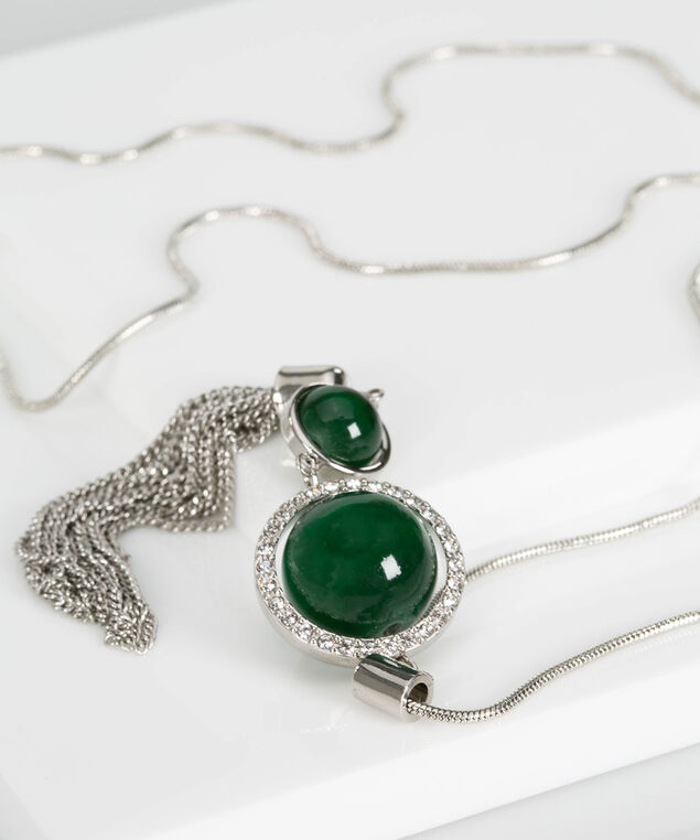Cateye & Crystal Tassel Necklace, Green/Rhodium, hi-res