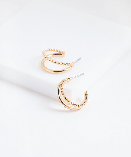 Small Double Layer Hoop Earring, Gold, hi-res