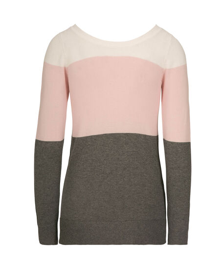 Lace-Up Back Pullover Sweater, Pearl/Pink/Grey, hi-res