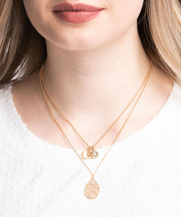 Layered Charm Necklace, Gold