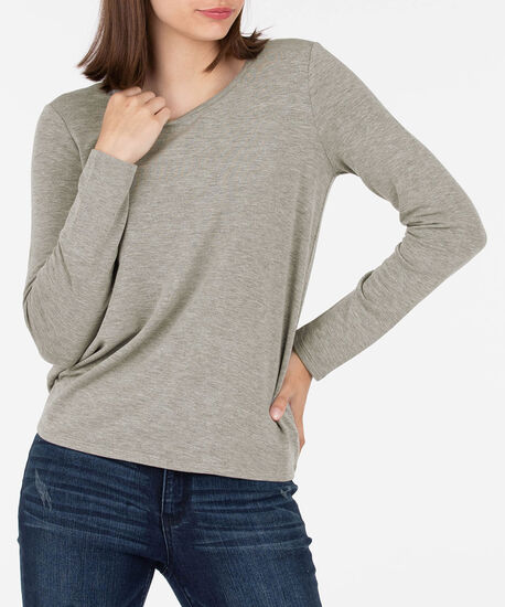 Criss Cross Back Pullover, Heathered Grey, hi-res