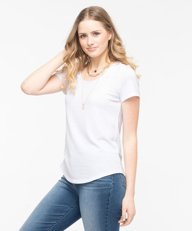 Short Sleeve Lightweight Knit Top, Pearl, hi-res