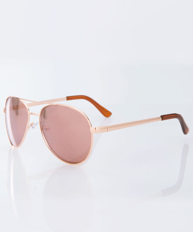 Mirrored Aviator Sunglasses, Rose Gold, hi-res