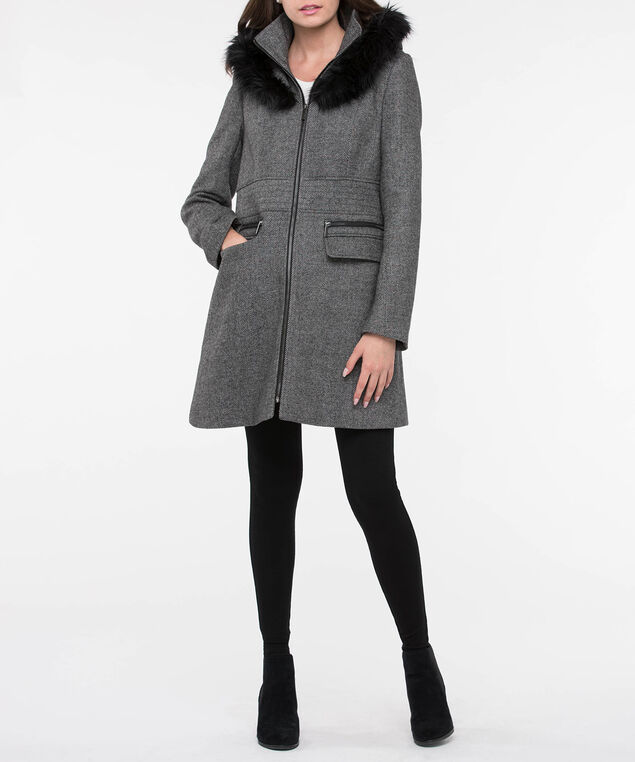 Fur Trim Oversized Collar Chevron Coat, Grey/Black, hi-res