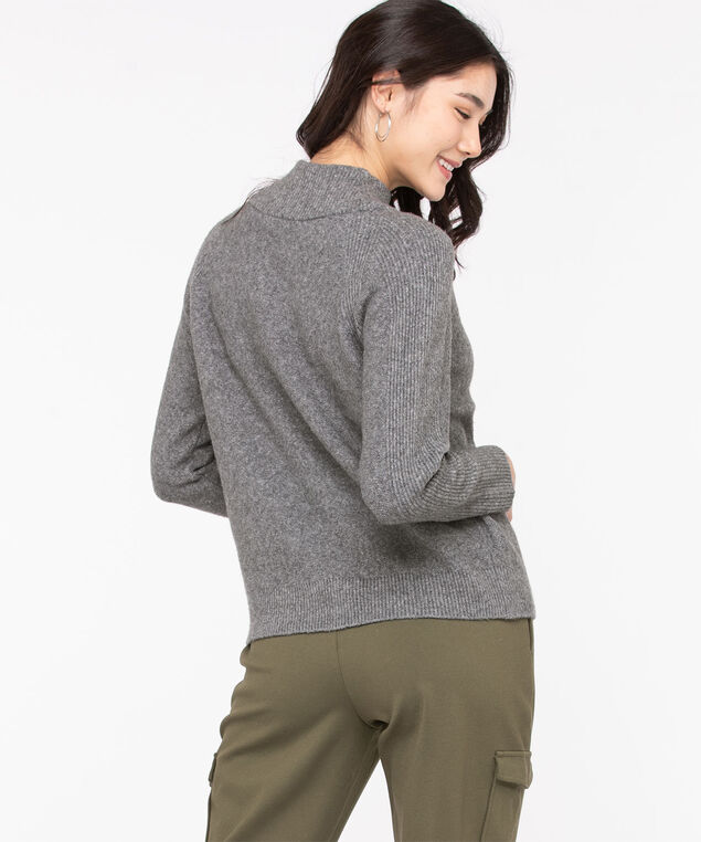 Eco-Friendly Mock Neck Sweater, Mid Grey