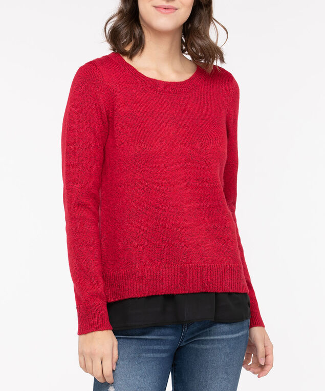 Fooler Hem Button Detail Sweater, Crimson/Black, hi-res