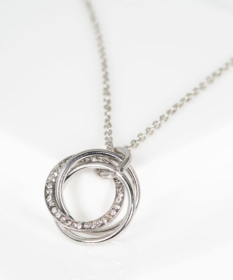 Intertwined Hoop Pendant Necklace, Rhodium, hi-res