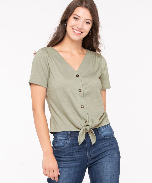 Button Front Tie Waist Top, Thyme, hi-res