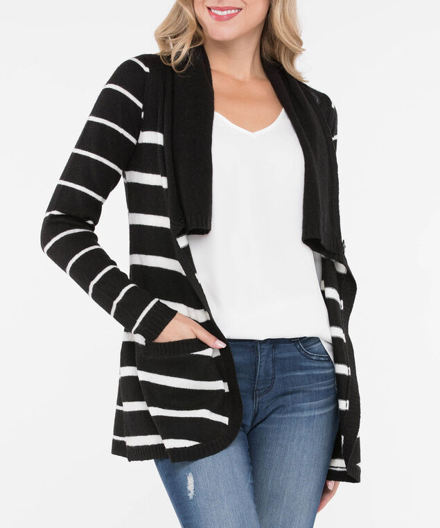 Striped Button Cowl Neck Cardigan, Black/Pearl, hi-res