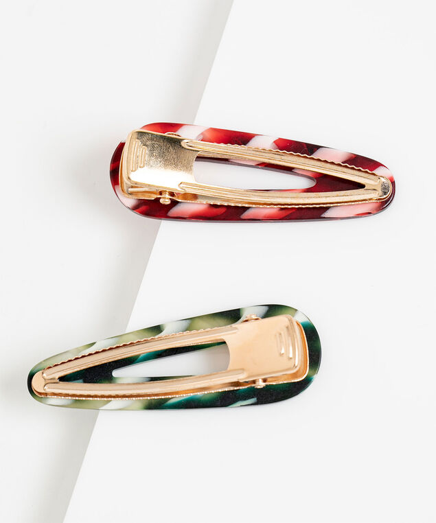 Marbled Stripe Hair Clip 2-Pack, Red/Green