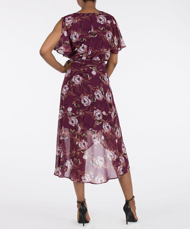 Rose Print High-Low Maxi Dress, Plum/Black/Dusty Pink/Pearl, hi-res