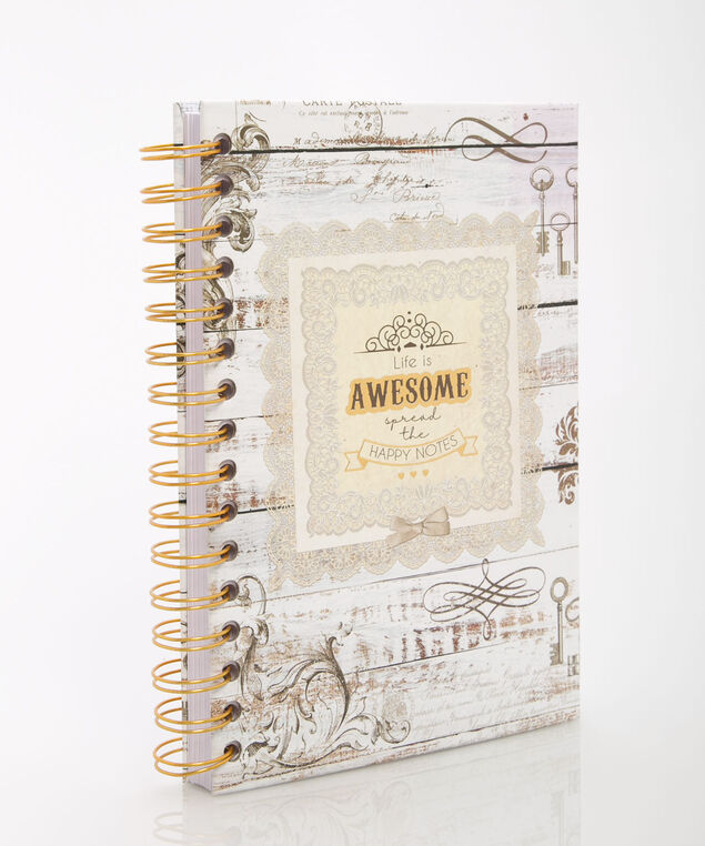 Life Is Awesome Spiral Notebook, Grey/Pearl/Gold, hi-res