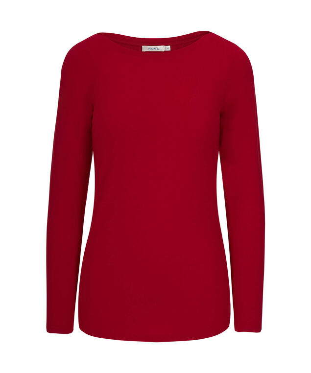 Boatneck Layering Essential Top, Cherry, hi-res
