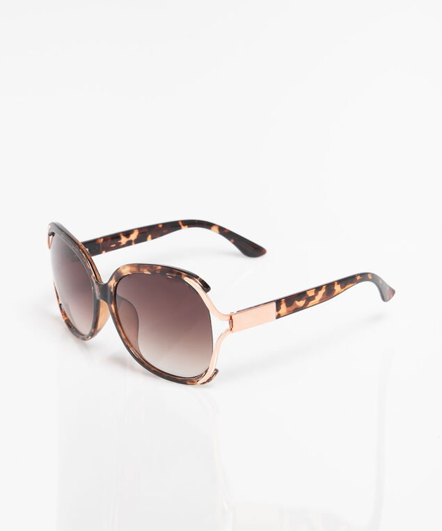 Tortoise Shell Large Square Sunglasses, Brown/Rose Gold, hi-res