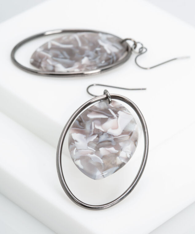 Resin Disc & Metal Hoop Earring, Hematite/Pearl/Grey, hi-res