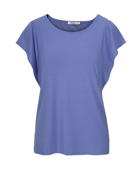 Flutter Sleeve Scoop Neck Tee, Sky Blue, hi-res