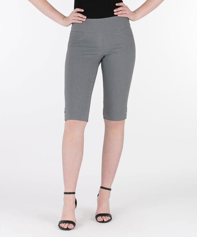 Crystal Stud Microtwill Bermuda Short, Heather Grey, hi-res