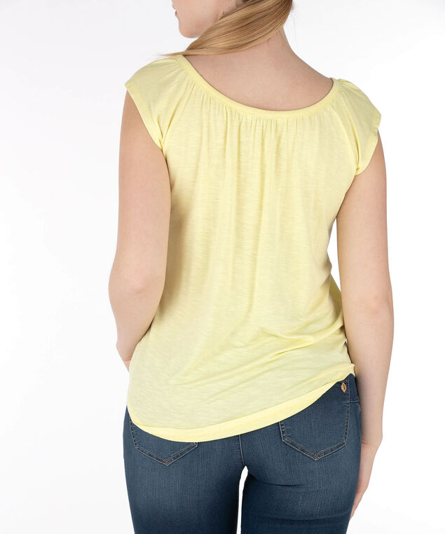 Ruched Scoop Neck Top, Yellow, hi-res