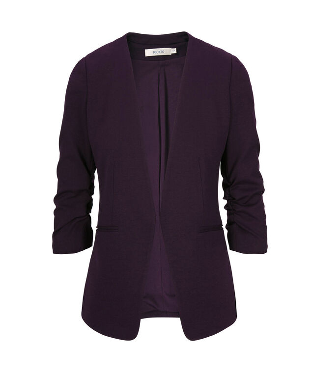Knit Open Front Blazer, Dark Purple, hi-res