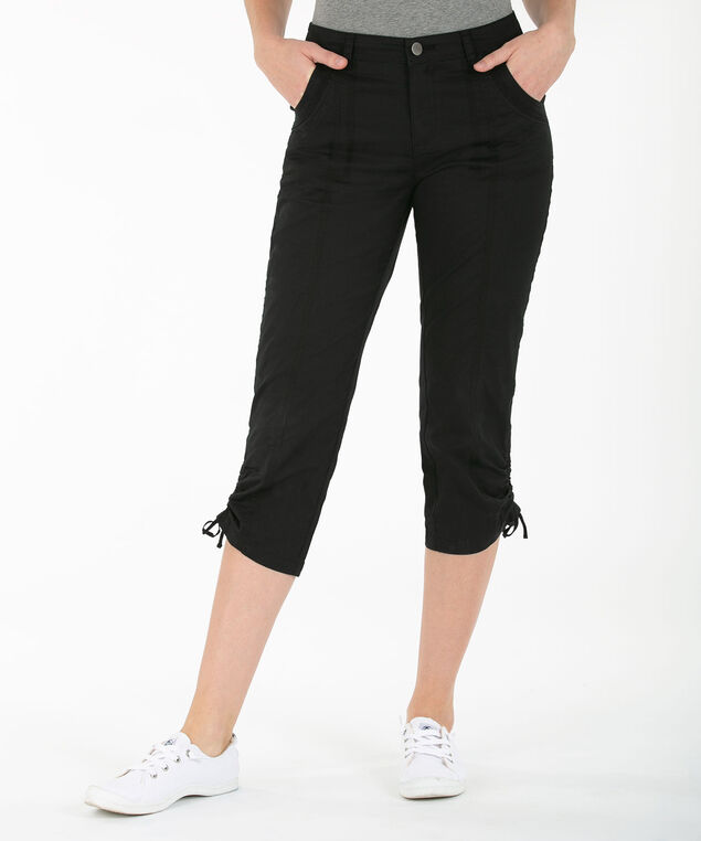 Poplin Ruched Capri, Black, hi-res