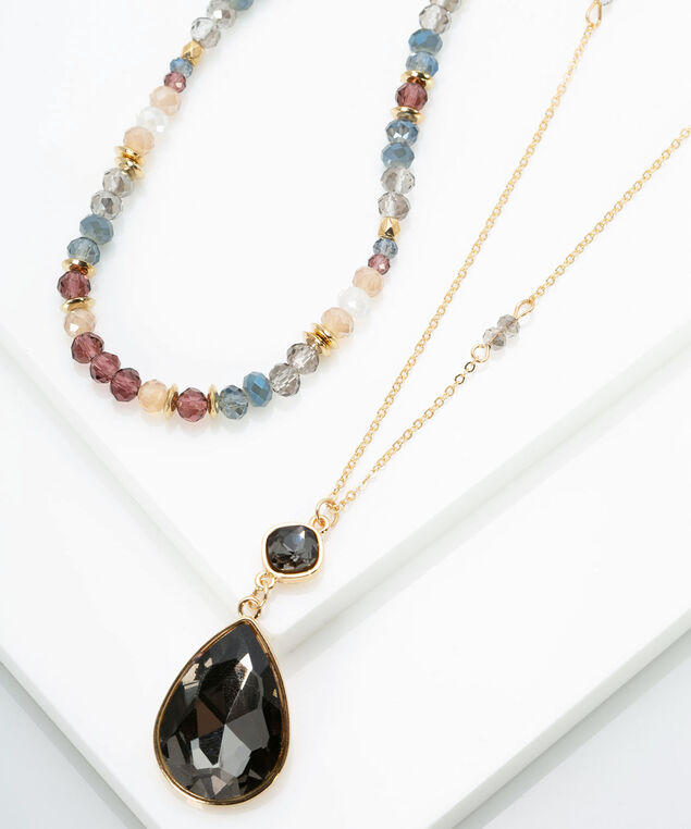 Dual Row Faceted Stone Pendant Necklace, Gold/Fig/Grey/Rose Petal, hi-res