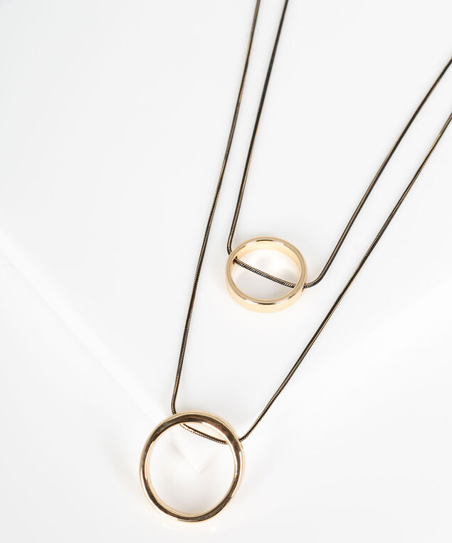 O-Ring Layered Pendant Necklace, Black/Gold, hi-res