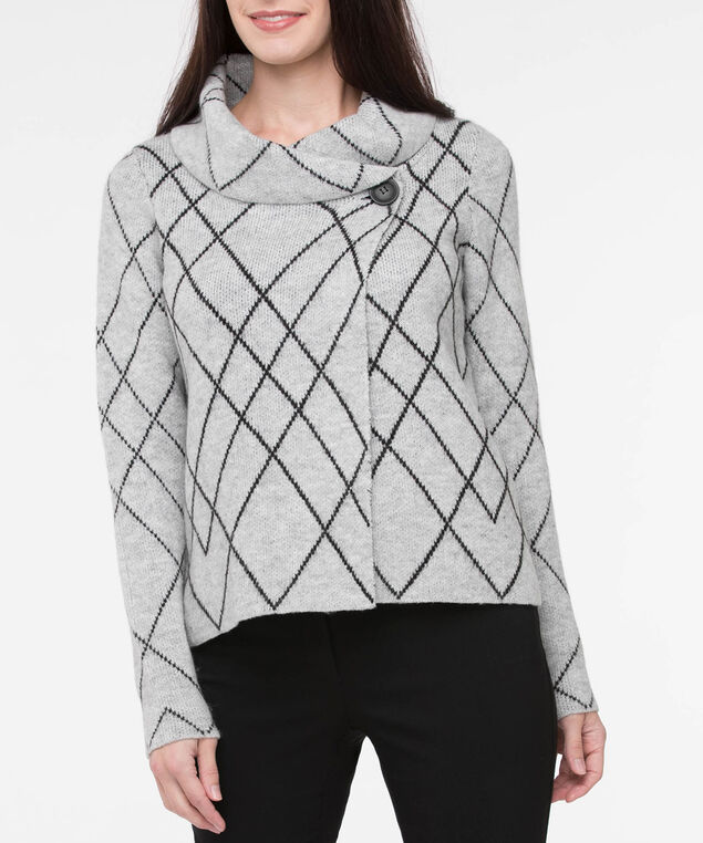 One Button Cropped Sweater Jacket, Light Heather Grey/Black, hi-res
