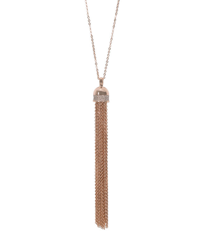Tassel Pendant Necklace, Silver/Rose Gold, hi-res